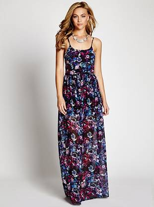 Whether your vacationing at the beach or running weekend errands, this floral-print dress is the perfect slip-into-and-make-a-statement piece. The long maxi length puts it right on trend and embodies the season's effortless mood.