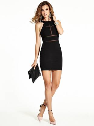 Showcase your inner femme fatale in this tempting body-con dress. Strategically placed mesh insets, a formfitting silhouette and a sexy back cutout deliver the playful appeal you love.