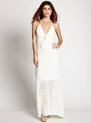 If easy summer-chic is what you're going for, this maxi dress is the perfect solution. A plunging neckline and allover crochet construction keep your look both sexy and comfortable.