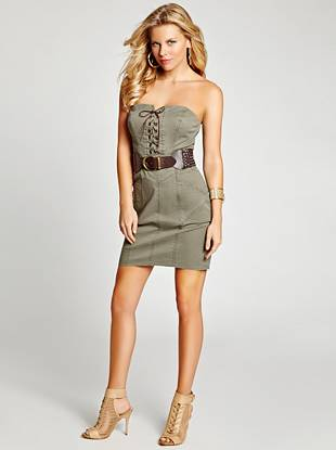 You're sure to turn heads in this military-inspired twill dress. With a curve-hugging fit, lace-up neckline and faux-leather braided belt, this look is ready for anything.
