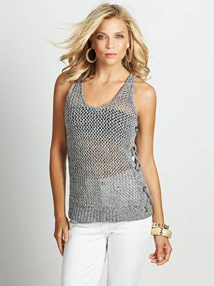 A new take on a summer favorite, this tank exudes a playful, carefree attitude. An open-knit design and lace-up sides add a touch of nautical inspiration.