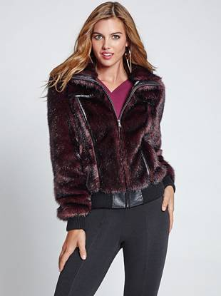 Make a daring-yet-completely-glamorous statement by layering on this multicolor faux-fur jacket. Featuring modern faux leather and edge-driven buckles, it's a celeb-worthy piece that instantly steals the spotlight.