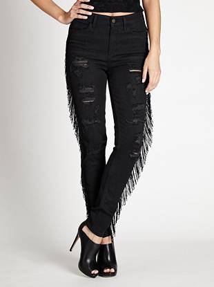 1981 High-Rise Fringe Skinny Jeans in Getaway Wash