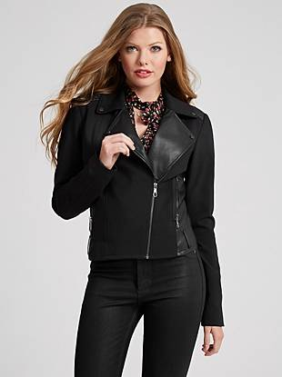 Classically designed yet modernly detailed, this jacket epitomizes polished edge. Featuring faux-leather details and a moto-inspired notch collar, it's the perfect layering piece for your fall/winter street style.