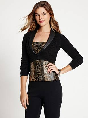 Give your bombshell looks a daring finish by layering on this sexy bolero jacket. The snakeskin texture and contrast faux-leather collar combine to bring you a piece that's fashion-forward yet so easy to wear.