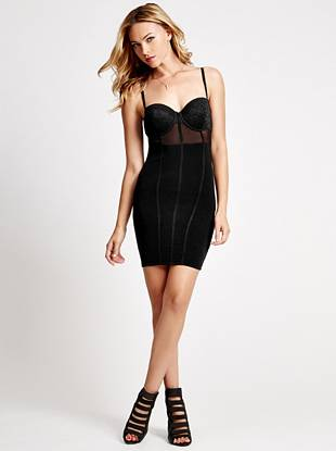 Designed with instant head-turning appeal, this LBD is the definition of sexy. The corset-style bodice is detailed with seductive lace and sheer mesh, creating a bombshell-worthy look that's perfectly in line with the lingerie trend.