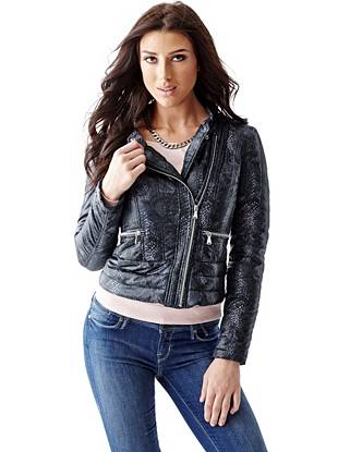 Packable Long-Sleeve Moto Jacket