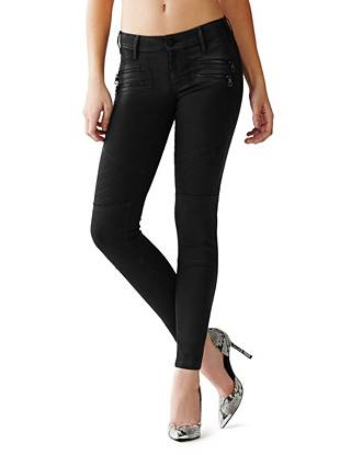Low-Rise Moto Panel Skinny Jeans in Blake Wash