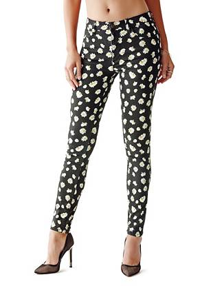 1981 High-Rise Skinny Jeans with Falling Daisy Print