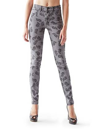1981 High-Rise Skinny Jeans with Floral Lace Print