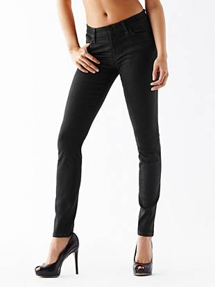 Mid-Rise Curve X Jeans in Slick Black Coated Wash