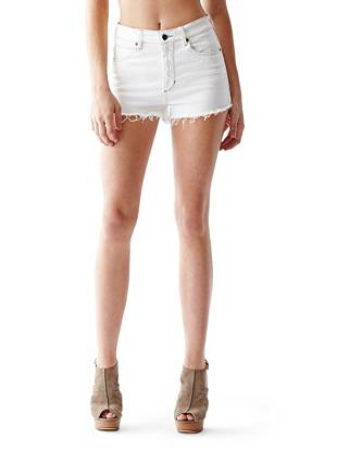 High-Rise Cutoff Denim Shorts in True White Wash