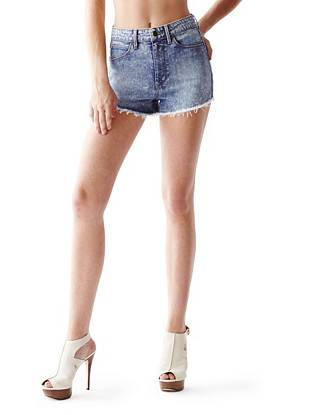High-Rise Cutoff Denim Shorts in Brit Pop Wash