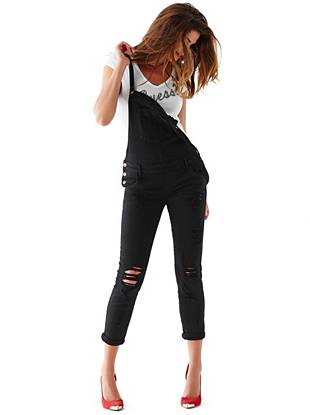 Carlie Slim-Fit Overalls in Overdye Black Destroy Wash