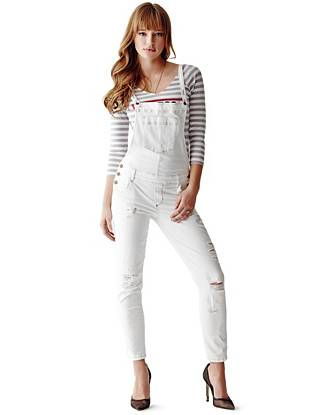 Carlie Slim-Fit Overalls in True White Destroy Wash