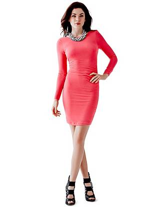 Super soft and simply sexy, this minidress makes an effortless transition from day to night. Stretch jersey hugs your curves in all the right ways while the low V-shaped back delivers an irresistibly tempting finish.