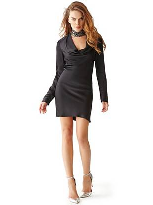 Long-Sleeve Cowl-Front Dress