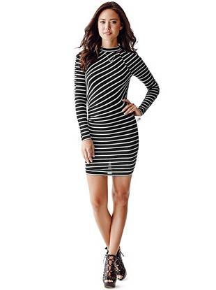 Super-soft jersey, a flattering striped pattern and sexy stretch fit—this dress wins on all fronts. Make your entrance, then turn around to reveal the tempting open back for an unforgettable fashion moment.