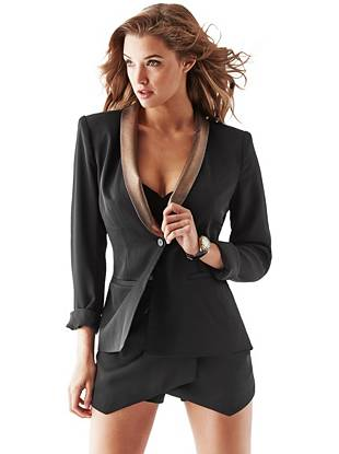 Long-Sleeve Metallic-Lapel Blazer
