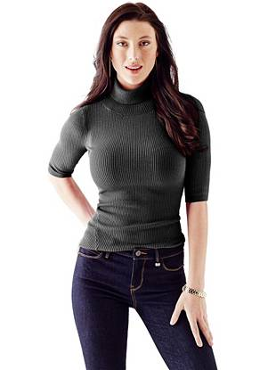 Half-Sleeve Cutout Ribbed Pullover