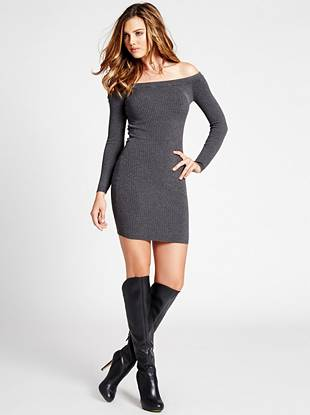 A sexy off-the-shoulder design and body-hugging stretch fit deliver tempting appeal to this seriously versatile minidress.
