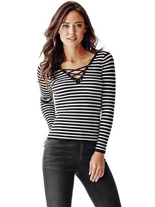 Casual yet completely sexy, this striped top is just what your weekend wardrobe is missing. The deep V-neck is finished with tempting lace-up detail for extra attitude.