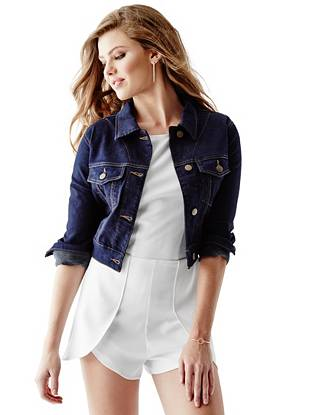 Cropped Denim Jacket with Silicone Rinse