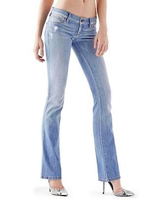 Ultra-Low Rise Bootcut Jeans in Blue Mellow Wash