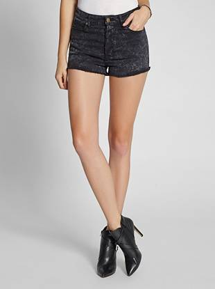 High-Rise Cutoff Denim Shorts in Black Acid Wash