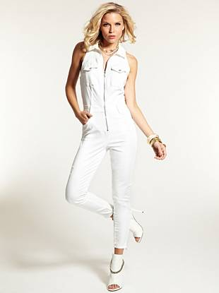 This ultra-sexy jumpsuit is one of the season's most-wanted fashion pieces. Crafted with super-stretch lightweight denim, this flattering one-piece hugs your curves in all the right ways. Destroyed details give it an authentic vintage, while the off-white finish makes it perfect for the season. The zipper closure adds a daring touch and allows you to reveal just the right amount of skin.