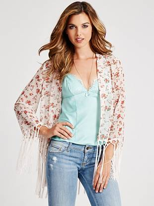 No closet is complete without the perfect kimono to layer on, and this light-as-air style is the one you need. A vintage-inspired floral print and free-spirited fringe deliver instant boho appeal.