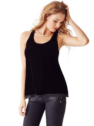 A covetable mix of soft velvet and semi-sheer contrast makes this top a simple yet statement-making essential for both day and night.