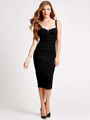 A sexy neckline and allover lace lend seductive allure to this figure-accentuating dress. Plus, the midi silhouette puts you right on top of the most-wanted trends.