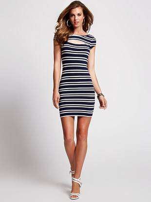 A sexy, body-hugging silhouette, easy-to-wear stretch jersey fabric and nautical-inspired stripes make this dress a weekend must have. The front cutout adds that little extra touch your style is known for.