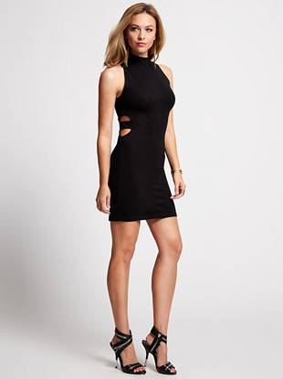 An of-the-moment take on the everlasting LBD, this body-hugging dress takes your style into trend-forward territory. A modern high neckline teams with sexy side cutouts to create the ultimate weekend-ready piece.