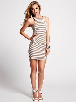 No matter the season, stripes never go out of style, which is why this mini dress is one of our top picks. Featuring a sexy, body-hugging fit and skin-revealing back cutout, it easily transitions from daytime to after dark.