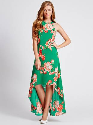 A tropical-inspired floral print and of-the-moment high-low hem make this maxi dress the season's need-now piece. Wear it casually by day then glam it up at night for breezy-yet-sophisticated style.