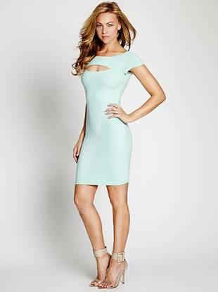 Club Dresses - Cap-Sleeve Scoop-Back Bodycon Dress