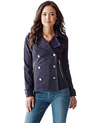 Long-Sleeve Double-Breasted Peacoat