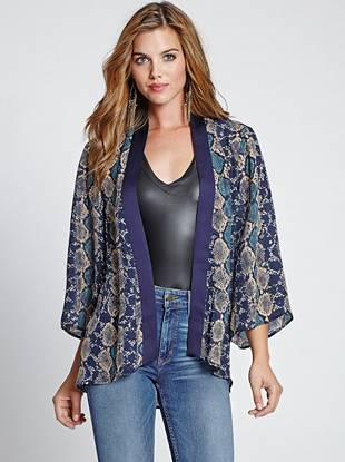 The kimono trend is here to stay, and this python-print piece is the perfect piece to nail the look. An inspired oversized design and breezy, lightweight construction work together to create a style that's effortless and completely necessary.