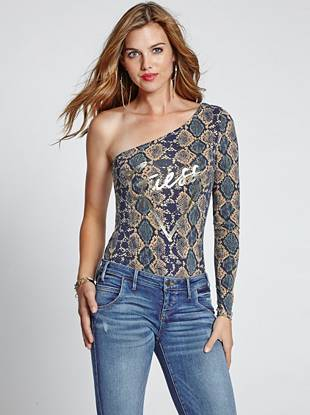 A multicolor snake print and gleaming metallic logo bring iconic edge to this curve-hugging bodysuit. Plus, the one-shoulder design offers a sexy, modern finish.