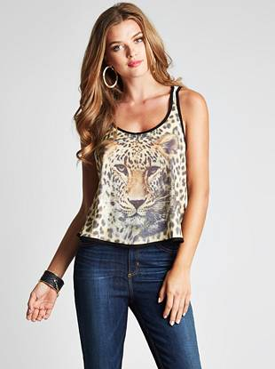 Give your off-duty look a dose of ferocious animal print with this flirty cropped tank. An allover leopard graphic and soft lightweight fabric make it perfect for hotter days.