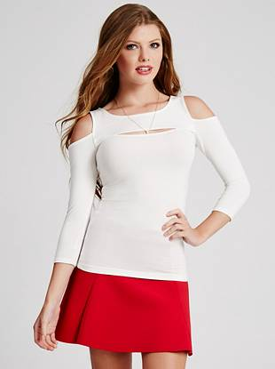A sexy choice for cooler temperatures, this super-soft knit top is a weekend wardrobe essential. Skin-revealing cutouts and a curve-hugging fit make it one piece you'll wear again and again.