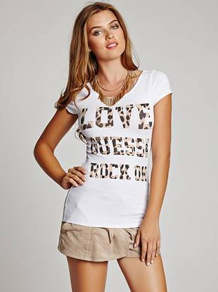 A leopard-print typographic logo and super-soft knit construction add irresistible appeal to this casual tee. A gathered back bow and cutout detail complete the look with a touch of sexy.