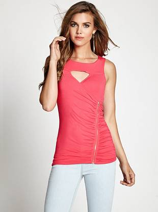 Leave it to us to reinvent the classic tank: a keyhole, ruched panels and asymmetrical zipper take this top to a whole new fashion realm. We love the elongating silhouette and choice of basic or bright colors.