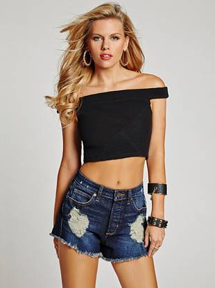 Off-the-Shoulder Ottoman Crop Top