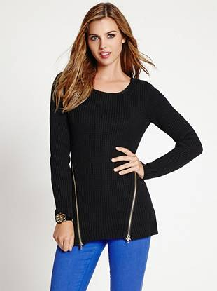 Gleaming gold-tone zippers lend glamorous edge to this heavyweight knit sweater.