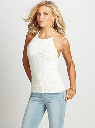 Perfectly casual and right on trend, this top is made for relaxed days and nights. Allover crochet construction takes your basic look to the next level, while a sexy halter back reveals just enough skin to keep things interesting...