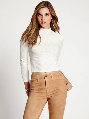 An essential for cooler seasons, this ribbed mock-neck sweater is perfect for layering or just wearing on its own.