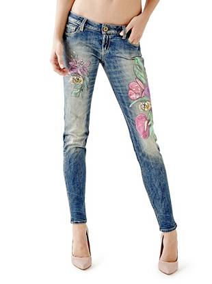Indigo Wash Jeans - Ultra Low-Rise Skinny Jeans in Bale Flowers Wash